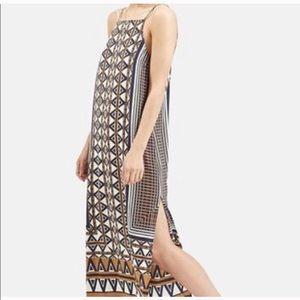 TOPSHOP Aztec print midi dress square neck size 6